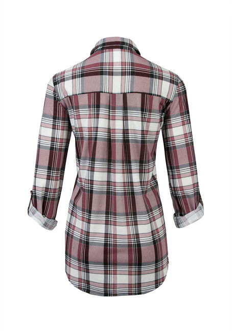 Ladies' Knit Popover Plaid Shirt, PEONY, hi-res