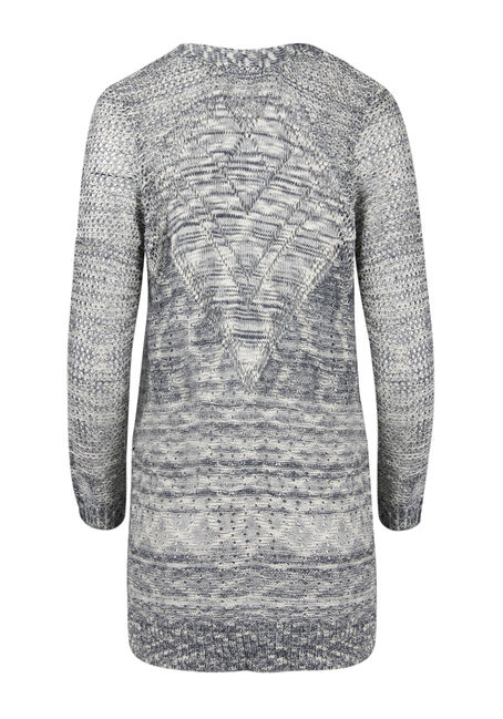 Ladies' Pointelle Cardigan, ECLIPSE/ IVORY, hi-res