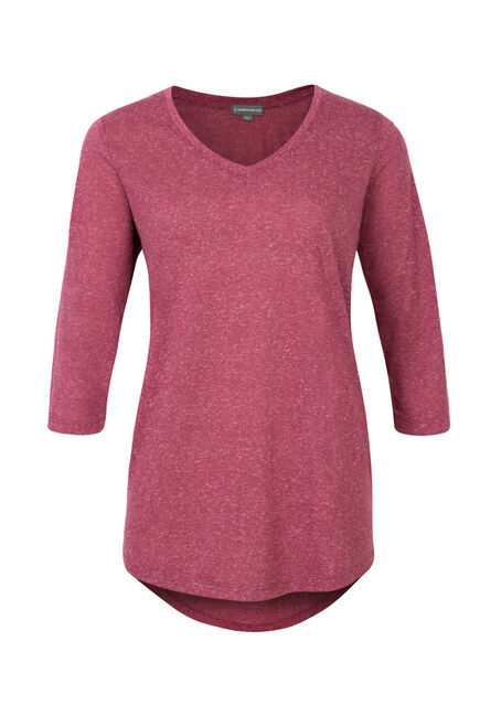 Ladies' V-Neck Tunic Tee, MAGENTA, hi-res