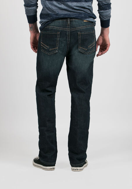 Men's Slim Straight Jeans, DARK WASH, hi-res