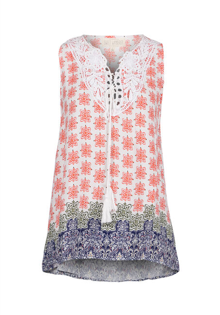 Ladies' Paisley Print Tank, TOMATO RED, hi-res