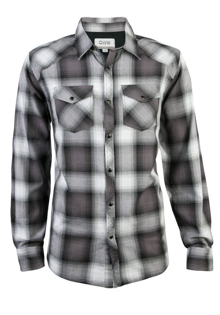 Men's Plaid Shirt, WHITE, hi-res