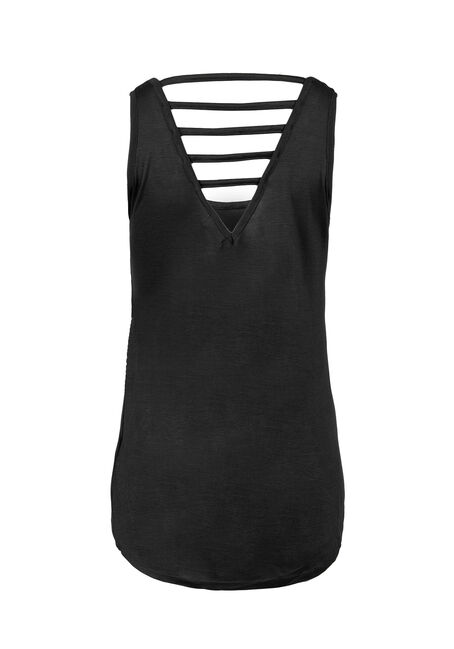 Ladies' Cut Out Tank, BLACK, hi-res