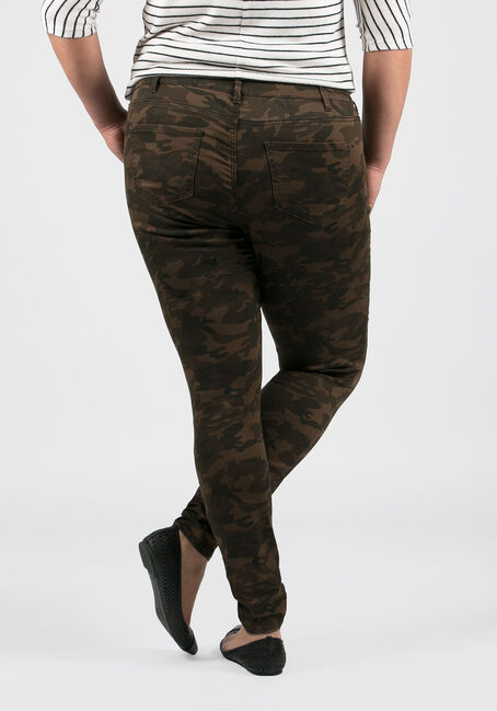 Ladies' Plus Size Camo Skinny Pants, OLIVE, hi-res