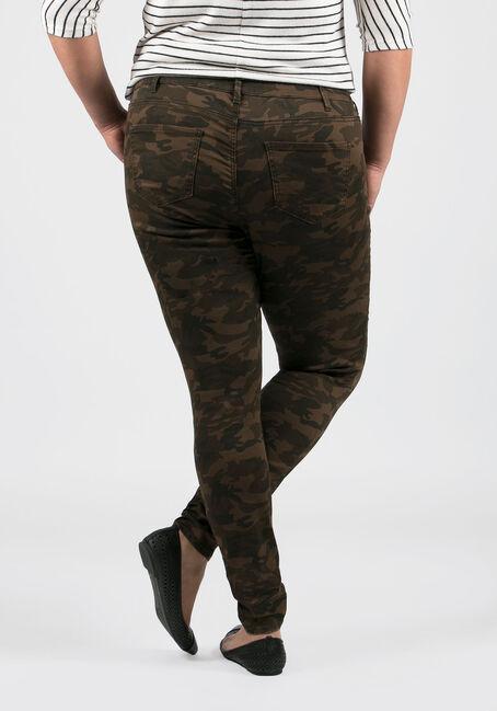 Ladies' Plus Size Camo Skinny Pants, OLIVE, hi-res