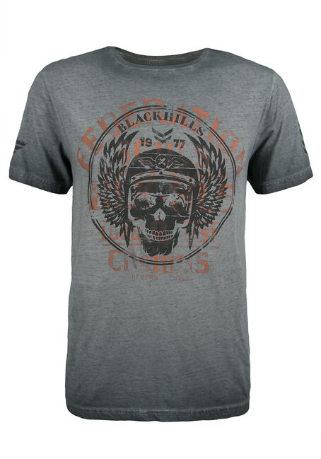 Men's Black Hills Skull Graphic Tee, CHARCOAL, hi-res