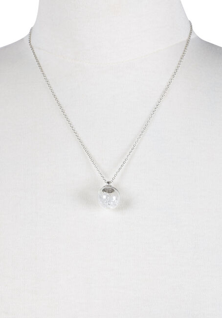 Ladies' Short Ball Charm Necklace, RHODIUM, hi-res