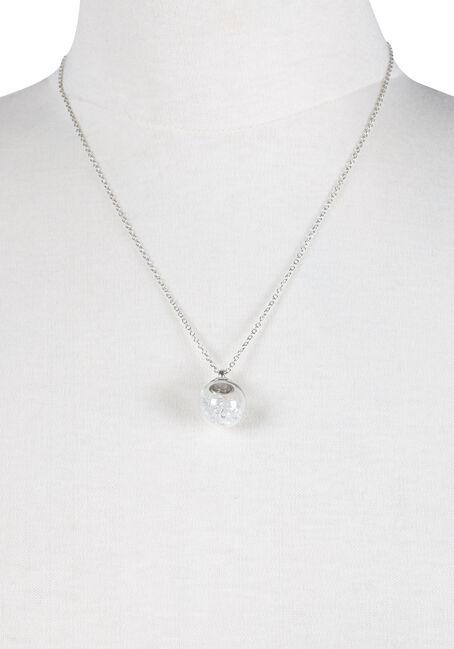 Ladies' Short Ball Charm Necklace, RHODIUM, hi-res