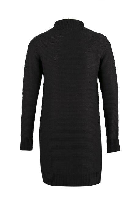 Ladies' Shawl Collar Open Cardigan, BLACK, hi-res