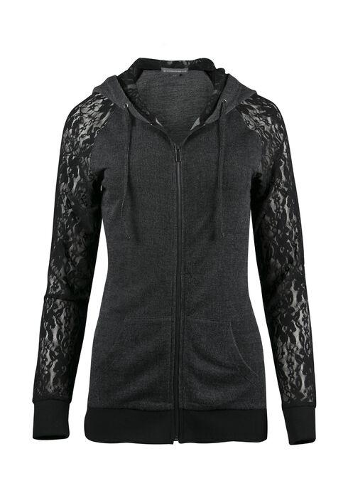 Ladies' Lace Sleeve Hoodie, BLACK, hi-res