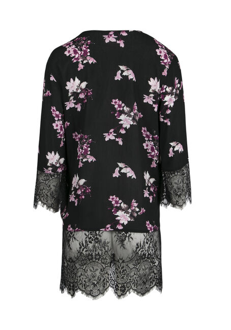 Ladies' Lace Insert Floral Kimono, BLACK, hi-res