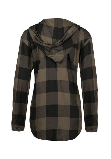 Ladies' Hooded Plaid Boyfriend Shirt, MILITARY, hi-res