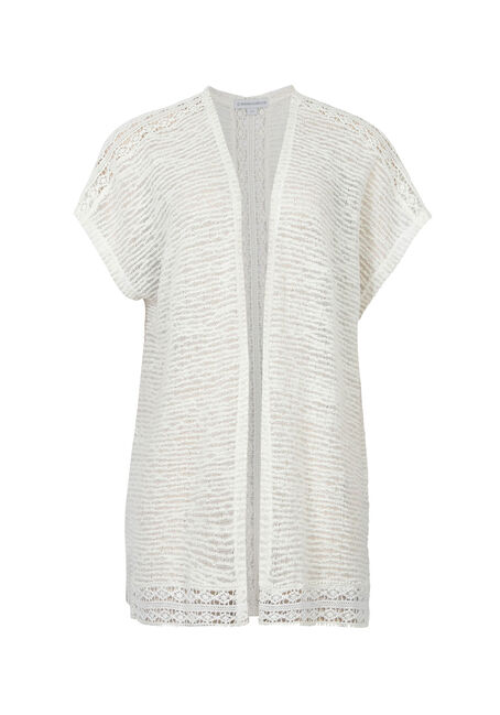 Ladies' Crochet Insert Cardigan, IVORY, hi-res