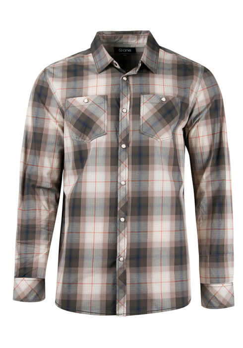Men's Relaxed Plaid Shirt, NATURAL, hi-res