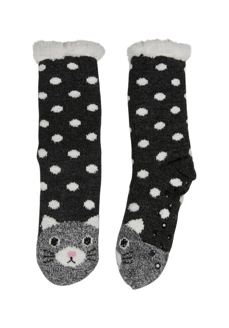 Ladies'  Cat Slipper Socks, BLK/WHT, hi-res