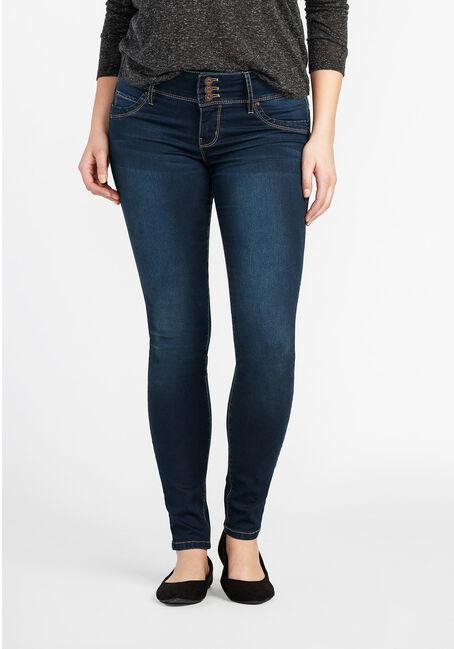 Ladies' Skinny Jeans, DARK VINTAGE WASH, hi-res