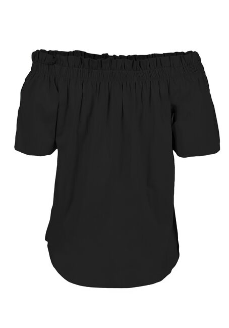 Ladies' Embroidered Bardot Top, BLACK, hi-res