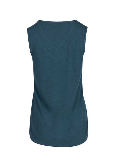 Ladies' Lace Trim Tank, TEAL, hi-res
