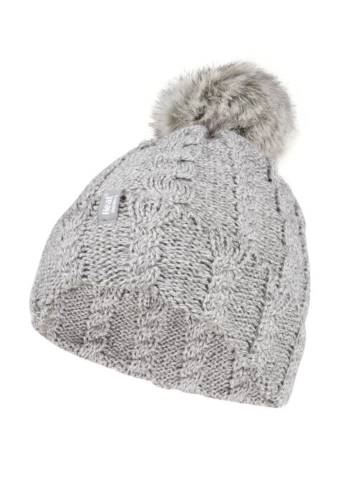 Ladies' Thermal Pom Pom Hat, GREY, hi-res