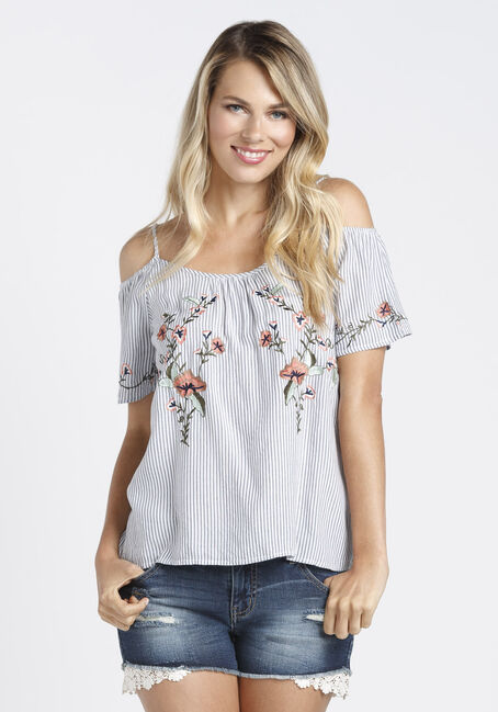 Ladies' Embroidered Cold Shoulder Top, LIGHT BLUE, hi-res