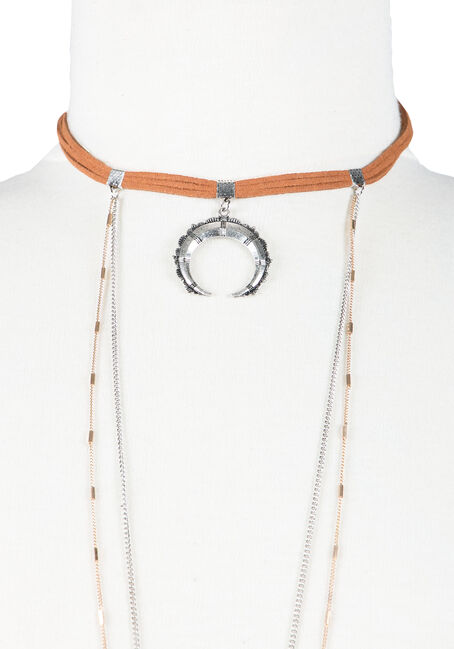 Ladies' Layered Necklace, MIXED METALS, hi-res