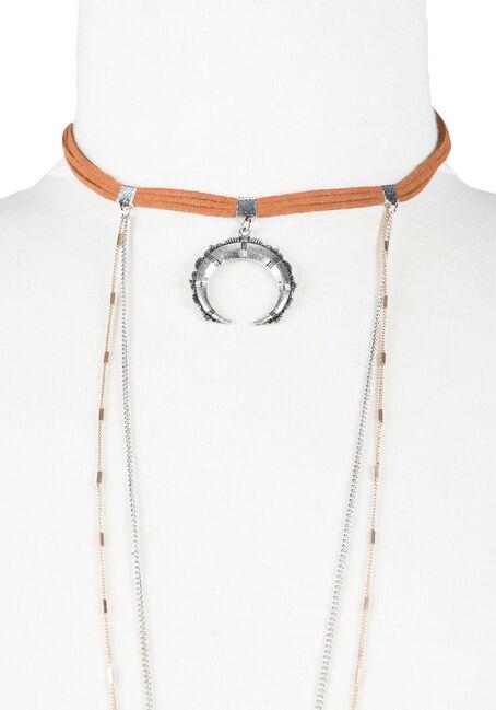 Ladies' Layered Necklace, MIXED METALS, hi-res