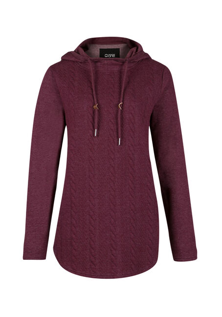 Ladies' Space Dye Popover Hoodie, WINE, hi-res