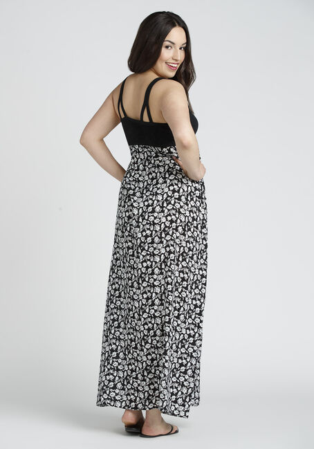 Ladies' Floral Maxi Dress, BLK/WHT, hi-res
