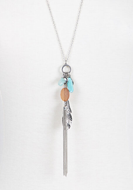 Ladies' Tassle & Charms Necklace, SILVER, hi-res