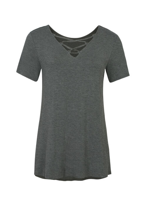 Ladies' Cage Front Tee, CHARCOAL, hi-res