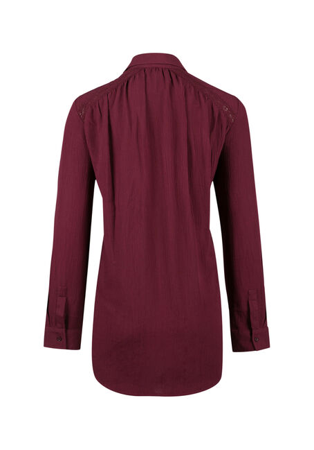Ladies' Henley Crinkle Shirt, WINE, hi-res