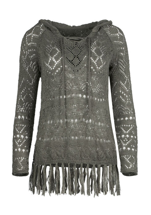 Ladies' Lace Up Sweater, OLIVE, hi-res