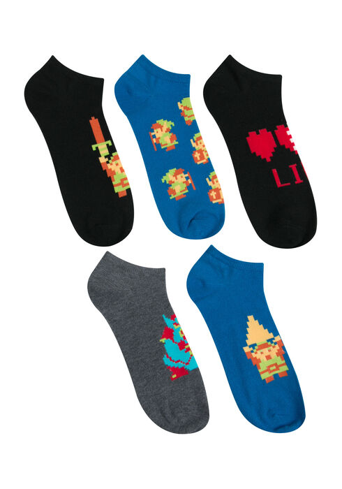 Men's 5 Pair Zelda Socks, BLACK, hi-res
