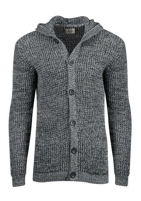 Men's Hooded Cardigan, BLACK, hi-res