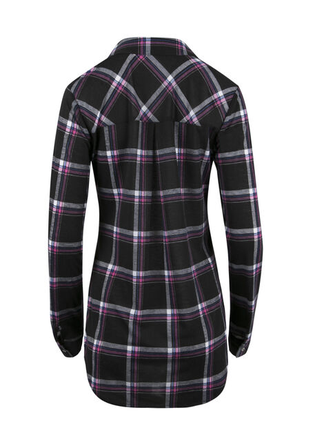 Ladies' Lace Up Knit Plaid Shirt, BLACK, hi-res