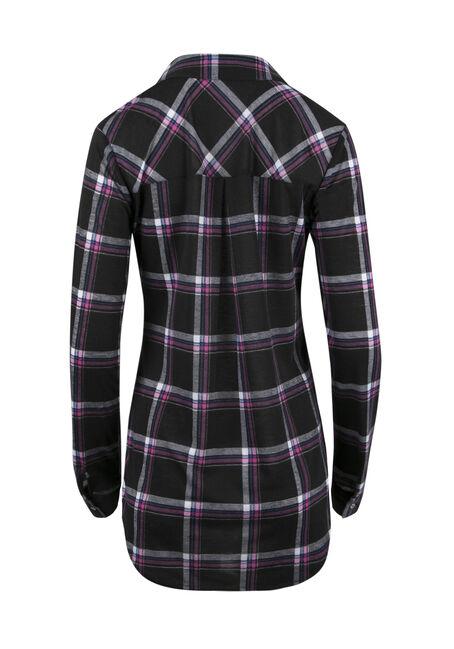 Ladies' Lace Up Knit Plaid Shirt, BLACK, hi-res