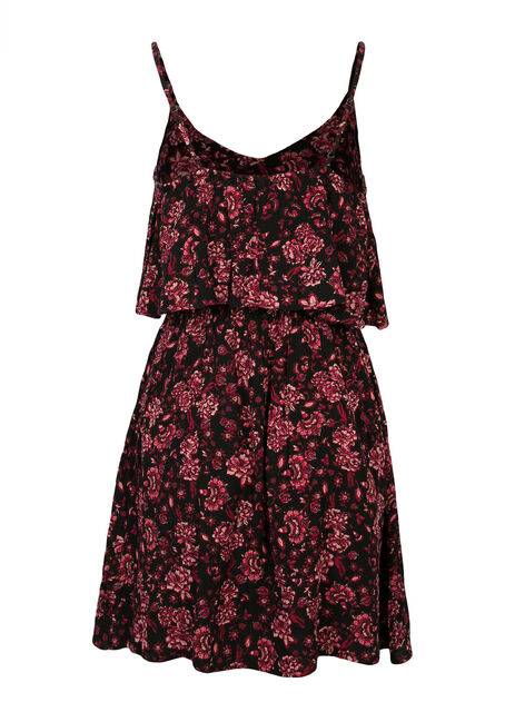 Ladies' Crinkle Dress, BLACK/BLUSH, hi-res