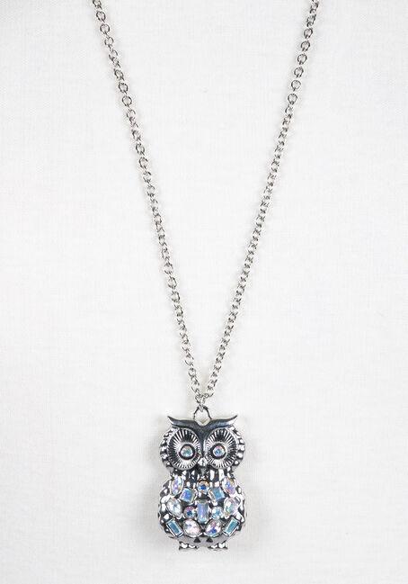 Ladies' Iridescent Owl Necklace, RHODIUM, hi-res