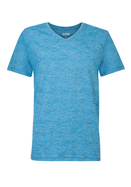 Men's Textured V-Neck Tee, BRIGHT BLUE, hi-res