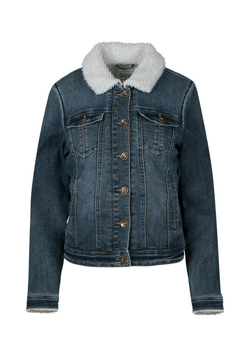 Ladies' Sherpa Lined Jean Jacket, DARK VINTAGE WASH, hi-res