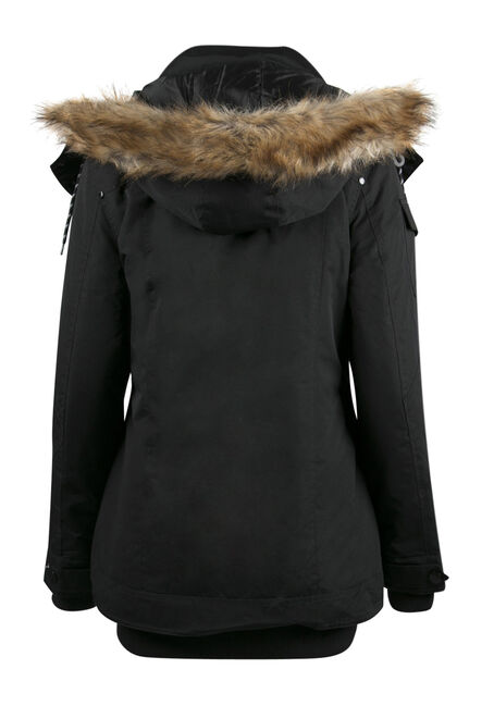 Ladies' Plus Size Utility Parka, BLACK, hi-res