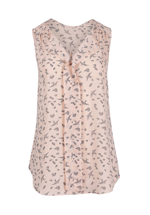 Ladies' Bird Print Pleat Front Tank, ROSEWATER, hi-res