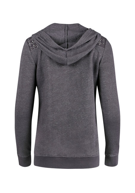 Ladies' Crochet Insert Hoodie, CHARCOAL, hi-res