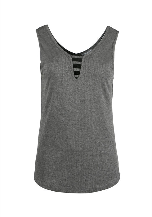 Ladies' Ladder Neck Tank, CHARCOAL, hi-res