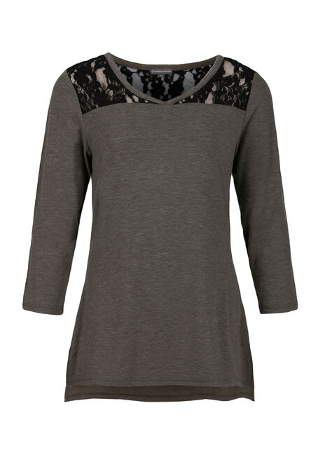 Ladies' Lace Insert Tee, MILITARY/BLACK, hi-res