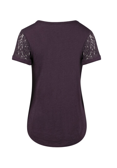 Ladies' Lace Yoke Tee, HORTENSIA, hi-res