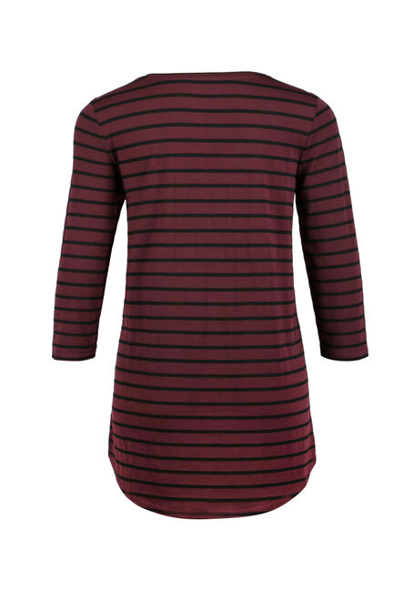 Ladies' Stripe Tunic Tee, WINE/ BLACK, hi-res