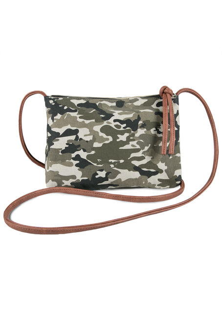 Ladies' Camo Crossbody Bag, DARK OLIVE, hi-res