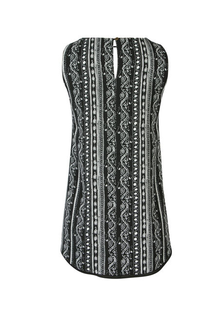 Ladies' Printed Reversible Keyhole Tank, BLK/WHT, hi-res