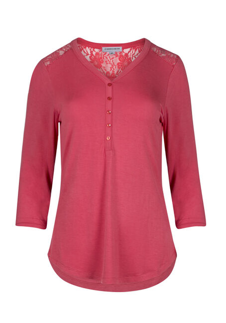Ladies' Lace Insert Henley Tee
